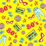 Moda 80 «e kolorowy bezszwowy wzór royalty ilustracja