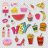 Moda łata elementy z cukierki jedzeniem i girly elementami Wektorowego doodle śmieszne odznaki Nowożytna wektorowa klamerki sztuk ilustracja wektor
