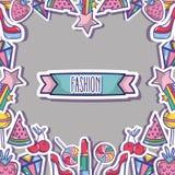 Moda łata modnego backgroun projekt royalty ilustracja