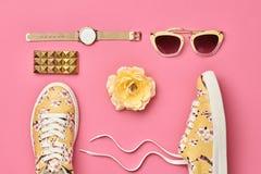 Moda Accesorios de la mujer del inconformista fijados Color en colores pastel Imágenes de archivo libres de regalías