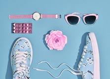 Moda Accesorios de la mujer del inconformista fijados Color en colores pastel Imagen de archivo