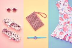 Moda Accesorios de la ropa fijados equipo mínimo Imagenes de archivo