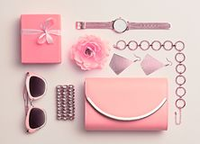 Moda Accesorios rosados de la mujer fijados Color en colores pastel Fotografía de archivo