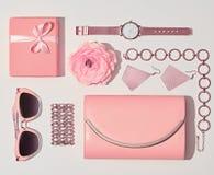 Moda Accesorios rosados de la mujer fijados color de la vainilla Fotos de archivo