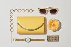 Moda akcesoriów inkasowa torebek kobieta Pastelowy kolor minimalizm Zdjęcia Stock