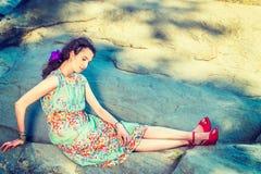 Moda americana joven del verano de la mujer en Nueva York Fotografía de archivo