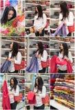 Moda atractiva de la mujer joven tirada en alameda Señora joven de moda hermosa en la camisa blanca en área de compras imagen de archivo