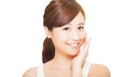 młoda azjatykcia kobiety twarz Obrazy Stock