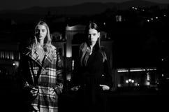 Moda, belleza y concepto femeninos del anuncio muchachas de moda en la iluminación de la ciudad de la noche Fotos de archivo libres de regalías