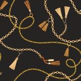 Moda Bezszwowy wzór z Złotych łańcuchów tkaniną ilustracji