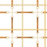 Moda Bezszwowy wzór z Złotymi łańcuchami r royalty ilustracja