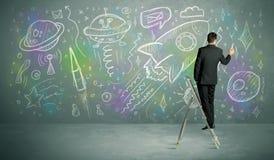 Młoda biznesmena rysunku rakieta Zdjęcie Royalty Free