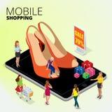 Moda butika sklep online, kobieta używa cyfrową pastylkę robić zakupy online, kobiety robi zakupy dla butów w buta sklepie ilustracji