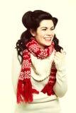 Moda caliente del invierno de la ropa del peinado retro de la mujer Imagenes de archivo