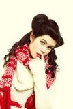 Moda caliente del invierno de la ropa del peinado retro de la mujer Fotografía de archivo libre de regalías
