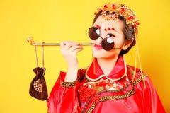 Moda Chińskiego stylu â€' â€' istota ludzka oblicza fotografię Fotografia Royalty Free