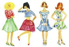 Moda de la calle ejemplo de la moda del muchachas Mirada del verano Pintura de la acuarela Pintado a mano Fotografía de archivo