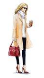 Moda de la calle forme el ejemplo de una muchacha rubia en una capa Mirada del otoño Pintura de la acuarela Imagen de archivo libre de regalías