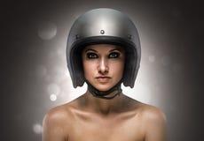 Moda de la muchacha del motorista Imagen de archivo libre de regalías
