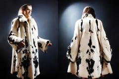 Moda de la ropa del invierno del abrigo de pieles Foto de archivo