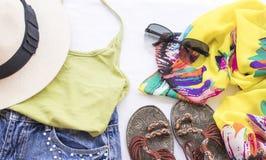 Moda del fondo de los accesorios de la mujer para el verano Imagen de archivo libre de regalías