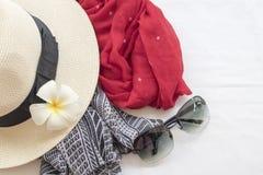 Moda del fondo de los accesorios de la mujer para el verano Imágenes de archivo libres de regalías
