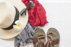 Moda del fondo de los accesorios de la mujer para el verano Imagenes de archivo