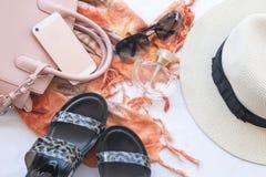 Moda del fondo de los accesorios de la mujer para el verano Fotos de archivo libres de regalías