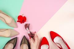 Moda, diversos zapatos de la hembra en los tacones altos Fotografía de archivo libre de regalías