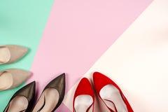 Moda, diversos zapatos de la hembra en los tacones altos Imagen de archivo libre de regalías