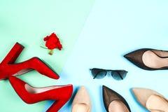 Moda, diversos zapatos de la hembra en los tacones altos Foto de archivo libre de regalías