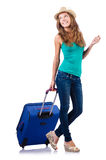 Młoda dziewczyna z walizką Fotografia Royalty Free