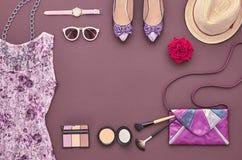 Moda Elegancki set Odgórny widok Podstawy Kosmetyczne Obraz Royalty Free