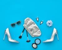 Moda Elegancki set Projekta strój Odgórny viewCosmetic Obraz Royalty Free