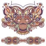 Moda floral adornada del bordado de Paisley del escote libre illustration