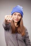 Młoda gniewna dziewczyna Zdjęcia Royalty Free
