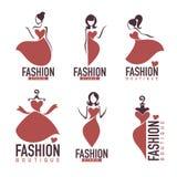 Moda i beautysalon, studio, butika logo ilustracji
