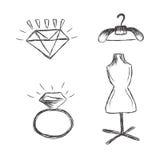 Moda, iconos, bosquejo, blanco, fondo, vector Fotos de archivo libres de regalías