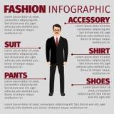 Moda infographic z uśmiechniętym mężczyzna urzędnikiem royalty ilustracja