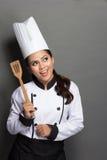 Młoda kobieta szefa kuchni główkowanie Obraz Royalty Free