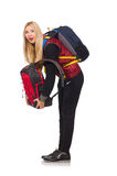 Młoda kobieta uczeń z plecakiem odizolowywającym Fotografia Stock