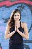 Młoda kobieta w Namaste pozyci Obraz Stock