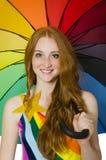 Młoda kobieta z parasolem Fotografia Stock