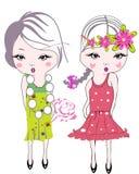 moda kwitnie dziewczyna dzieciaka royalty ilustracja