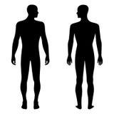 Moda mężczyzna szablonu postaci stała sylwetka (przód & plecy rywalizujemy ilustracja wektor