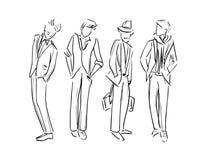 Moda mężczyzny nakreślenia ilustracji ustalony nakreślenie ilustracja wektor
