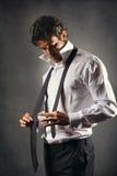 Moda model jest ubranym czarnego krawat Fotografia Royalty Free