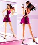 Moda model z smartphone ilustracja wektor