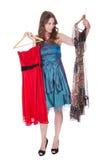 Moda model z wyborem suknie Fotografia Stock