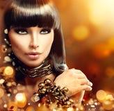 Moda modela brunetki dziewczyna Fotografia Stock